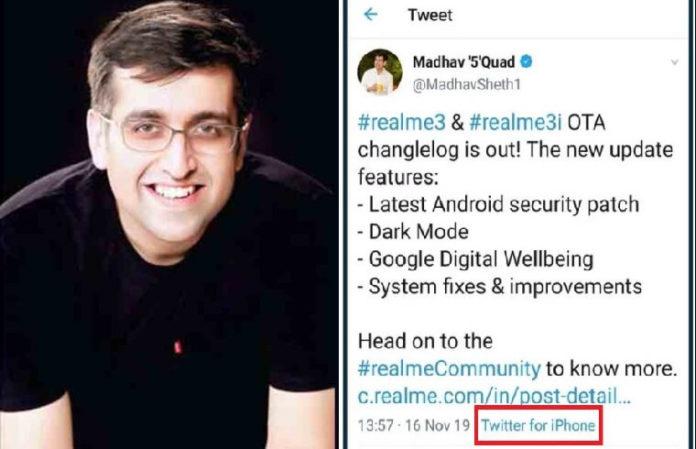 Realme India CEO Tweets Using iPhone